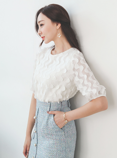 Romantic Half-Moon Chiffon Blouse