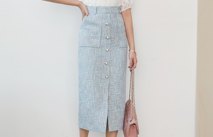 Coco Pastel Tweed Pearl Buttons Rong Skirt