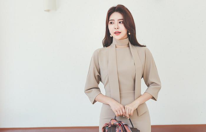 Tie Pintuck Sleeves Ragran Span Dress