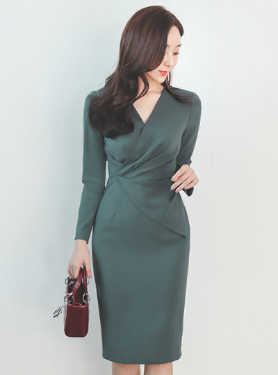 Shirring V-Wrap Belted Peplum Span Dress