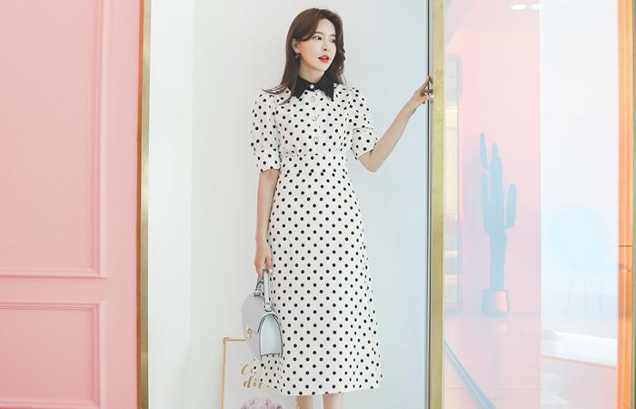 Satin-Collar Jewelry- Button Dot Long Dress