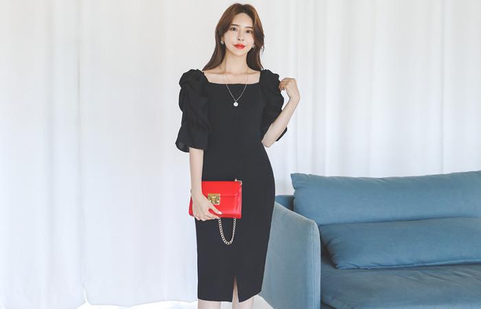 Dressy Shirring Puff Off Shoulder Dress