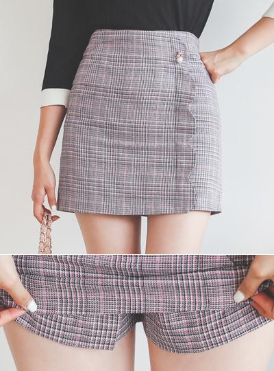 Wave Lapel Glen Plaid Mini Skirt(pants lining)