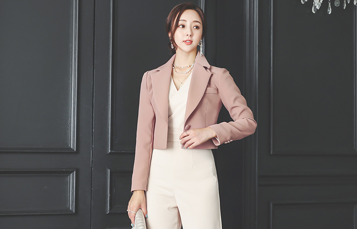 One-Button Tailored Crop Jacket