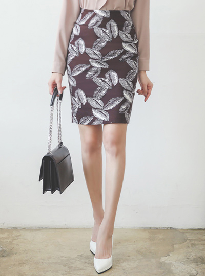 Leaf Sketch Cotton Span H-line Skirt