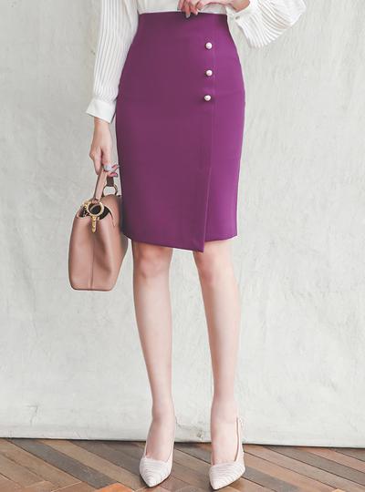 Side Triple Pearl Slit Span Skirt