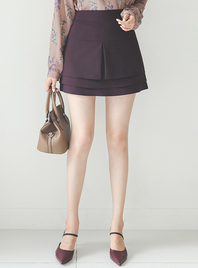 Tiered Pleats Cancan Mini Skirt(pants lining)