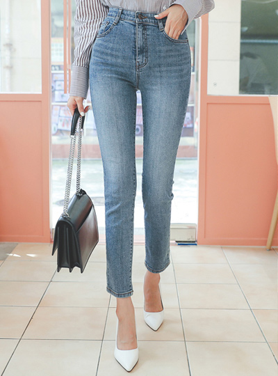 Stretchy-Waist Washing Slim Fit Span Denim Jeans