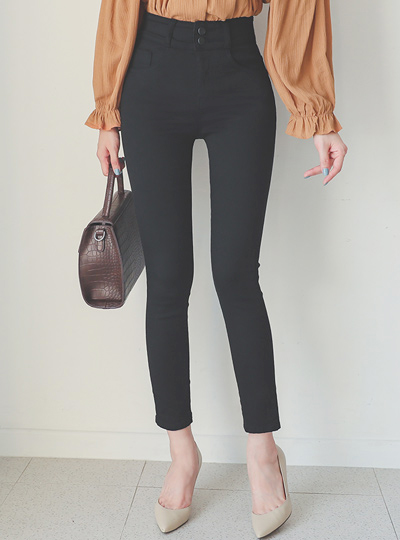 Two button Stretchy-Waist Black Jeans