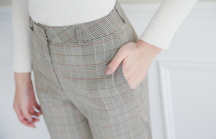 Spring Check Wide Slacks Pants