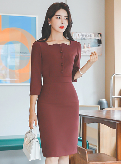 Square Neck Bean Button H-line Three-Quarter Sleeves Dress