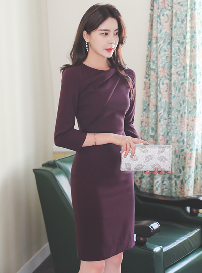 Diagonal Draping Slim Fit Three-Quarter Sleeves Dress