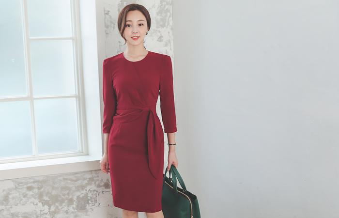 Ribbon Pinch-Shirring Unbalance Ruffle Dress
