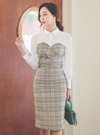 Shirt layered Glen Check Dress