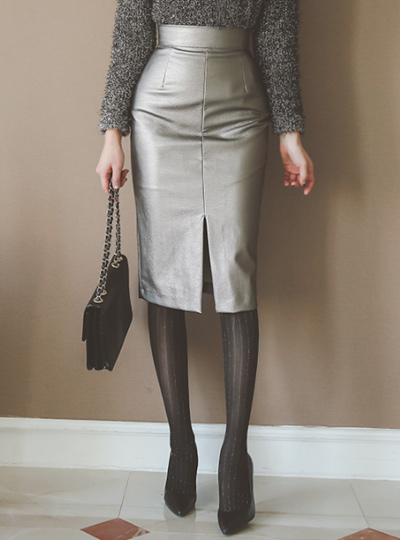 high waist slit leather Skirt