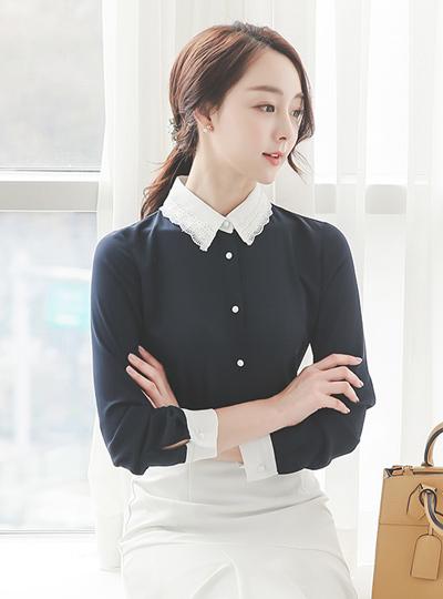 Romantic lace color color combination Blouse