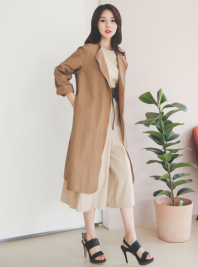 Natural coating light long jacket