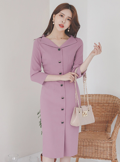 Formal Wing Collar Square Button Cutting Dress