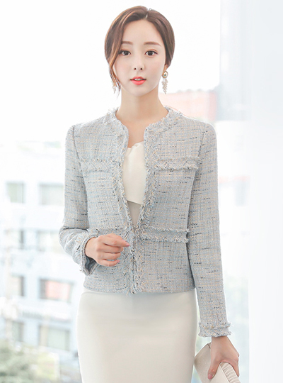 Blanc Fringe Tweed Jacket