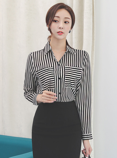 Stripe Pocket Collar Shirt Blouse