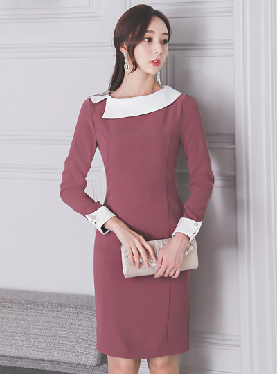 Unbalance Flat Collar Color Combination Pearl Dress