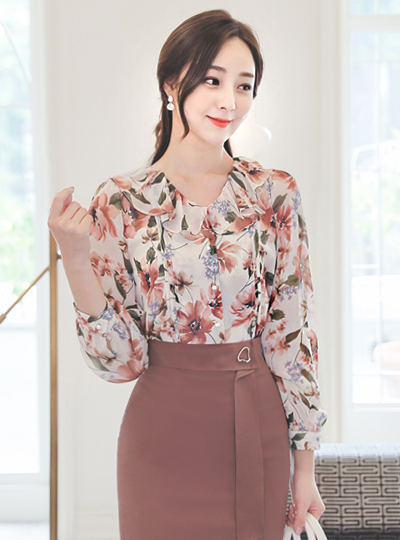 Ruffle Line Flower Printing Pearl Blouse
