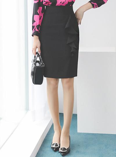 Double Ruffle Line Slim Skirt