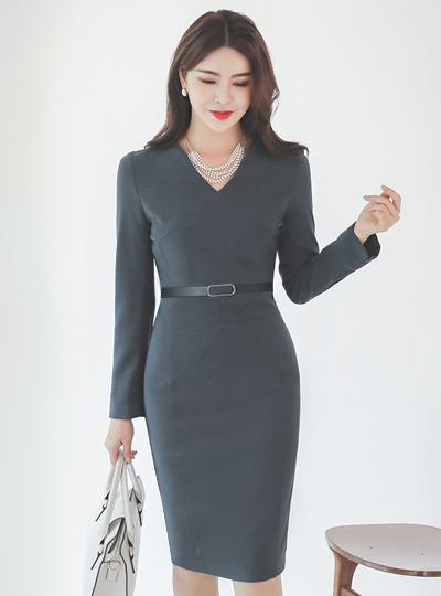 Cutting-line Ring-Belt Span Dress