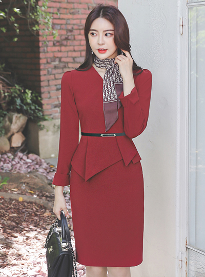 Wrap Style Unbalance Peplum Dress