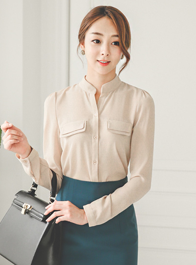 Double pocket half open China Blouse