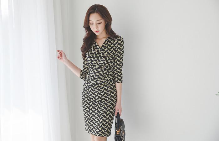 Misty Shirring Wrap DressⅡ