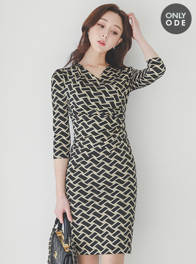 Misty Shirring Wrap DressⅡ