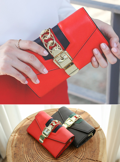 Gold Buckle Chain Color Combination Clutch