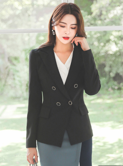 Peaked Collar Gold Double Button Jacket