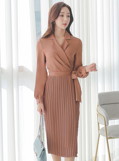 Wrap Style Pintuck Pleats Slim Dress