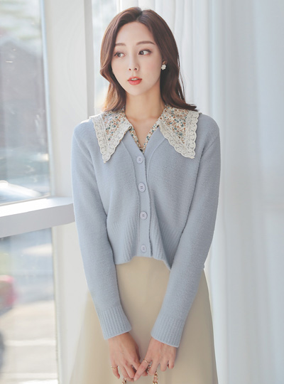 Pastel V-neck Knit Short Cardigan