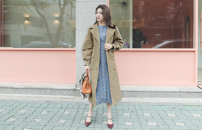 Wide Collar Puff Trench Coat