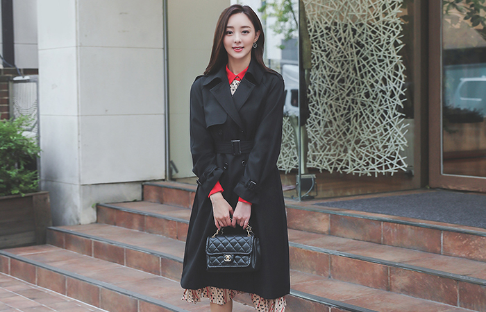 Back Line Pleats Double-button Trench Coat