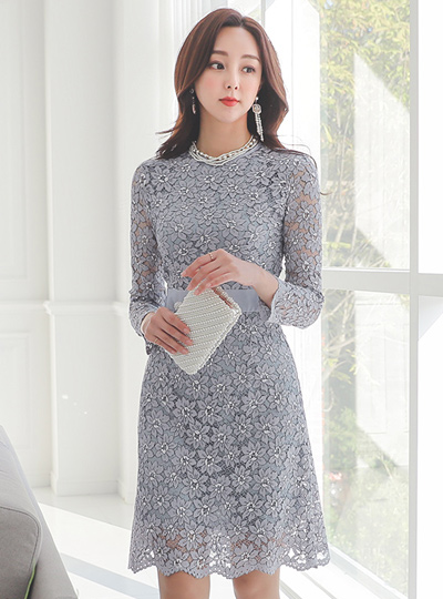Romantic Flower Lace A-line Dress