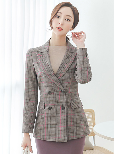 Hot-Pink Line London Check Double Jacket