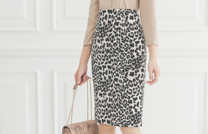 Leopard High-Waist H-line Skirt