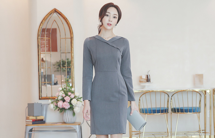 Folding V-neck Cutting-line Span Dress