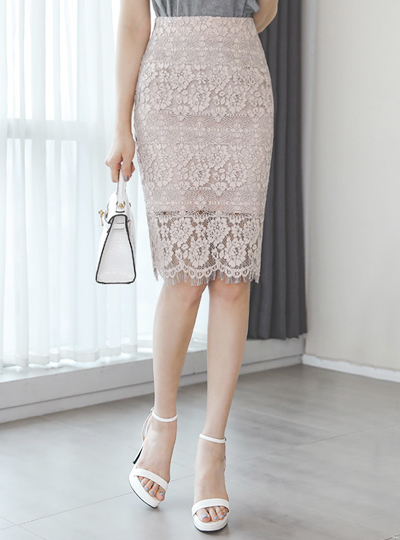Wave Embroidery Lace Skirt