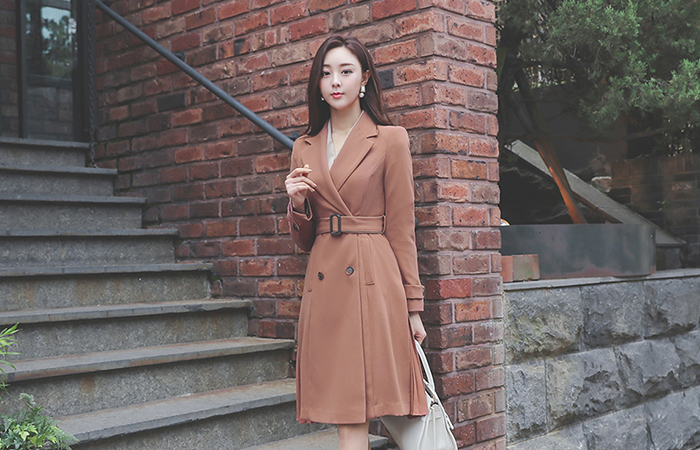 Lady Belted Side Pleats A-line Coat