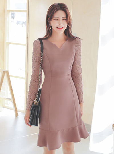 Heart Neck Lace Sleeves Ruffle Dress