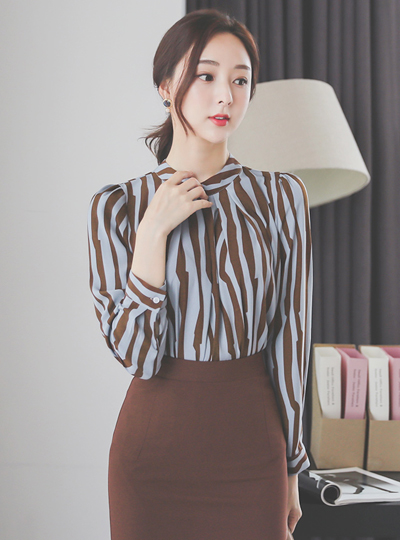 High-Neck Pintuck Stripe Satin Blouse