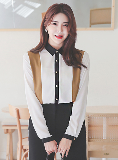Triple Color Combination Gold Button Collar Shirt Blouse