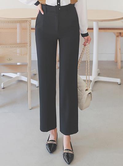 Wide Straight Belted Span Slacks