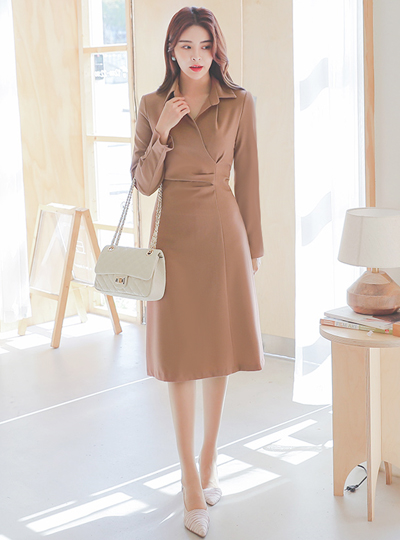 Shirring Wrap Collar Shirt Span Dress