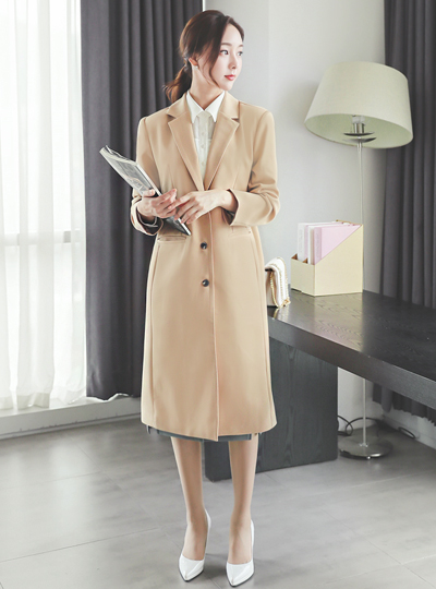 Basic Cutting-line Slim Fit Long Jacket